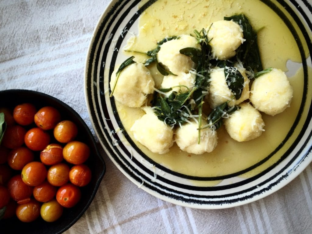 Ricotta and parmesan gnudi
