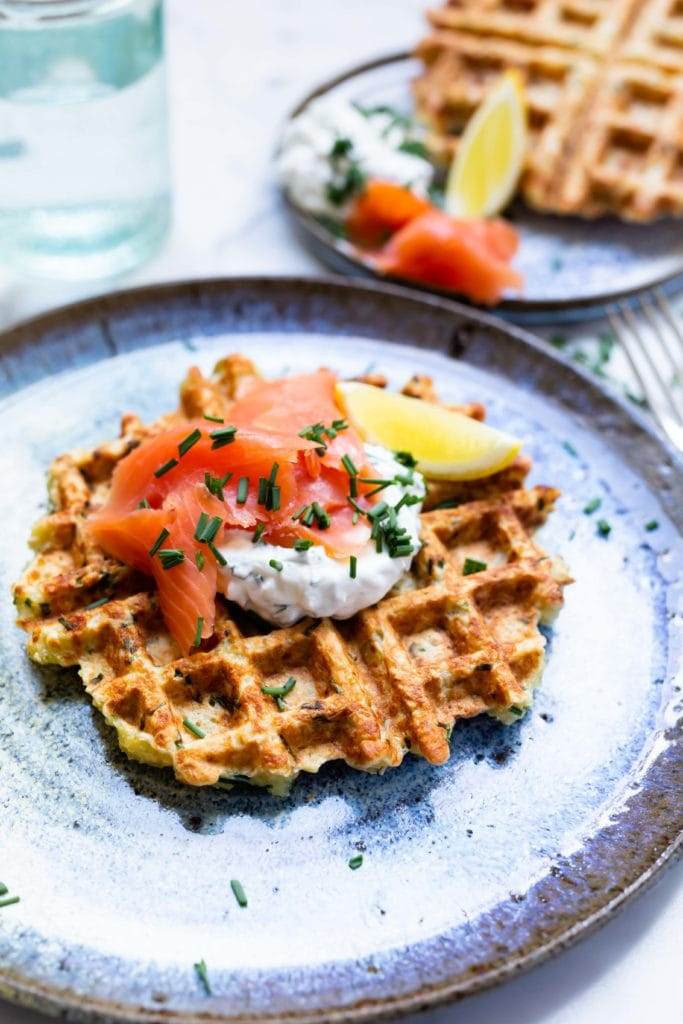 potato waffles with smoked salmon