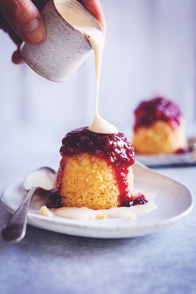 Raspberry Coconut Sponge Puddings | Sophia's Kitchen